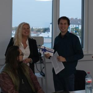 Jan Grieser freut sich über den 1. Platz in der Kategorie Prosa